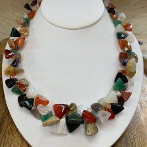 Polished Triangle Gemstone Necklace